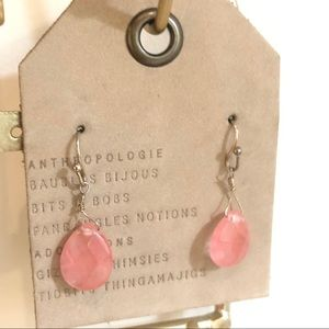 Anthropologie Pink Coral Gold Teardrop Earrings